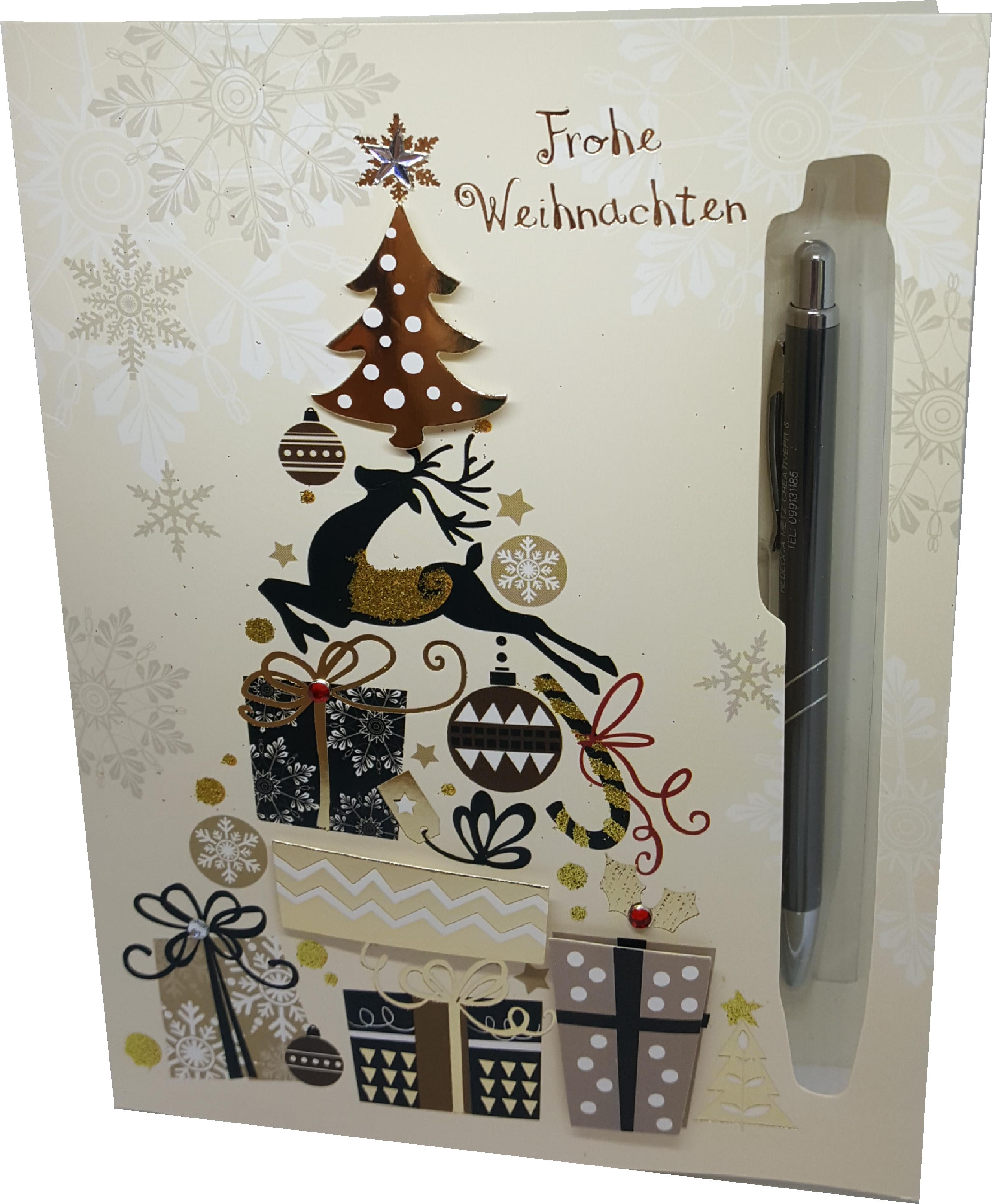 Weihnachtskarten Mit Kugelschreiber.Bestelloptionen Weihnachtskarte Goldener Geschenkbaum Mit Stift